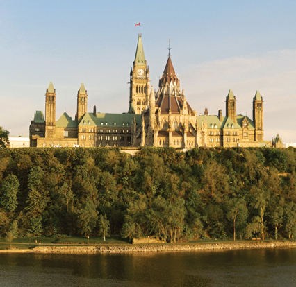 A view of the back of the Canadian Parliament building